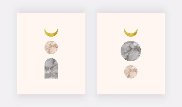 Impressão da arte da parede boho com lua dourada e formas de tinta de álcool nude e preta