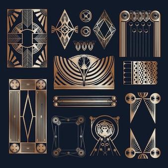 Impressão da arte do ornamento com estampa de gatsby em ouro vintage, remix de obras de arte de samuel jessurun de mesquita
