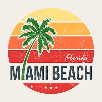 Impressão da camiseta de miami beach florida com palmeira Vetor Premium