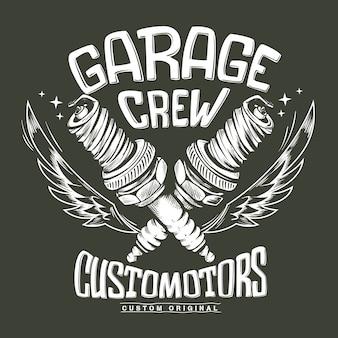 Impressão da vela de ignição da garagem do clube de motocicleta vintage.