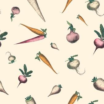 Impressão de arte de culturas de raízes e tubérculos com padrão sem emenda de vegetais, remix de obras de arte de marcius willson e na calkins