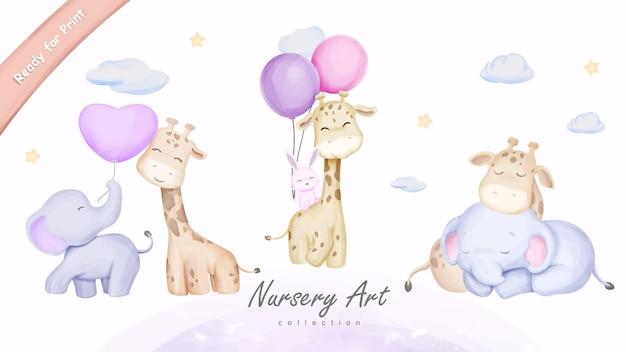Impressão de arte de parede animais fofos amigos girafa elefante coelho ilustração