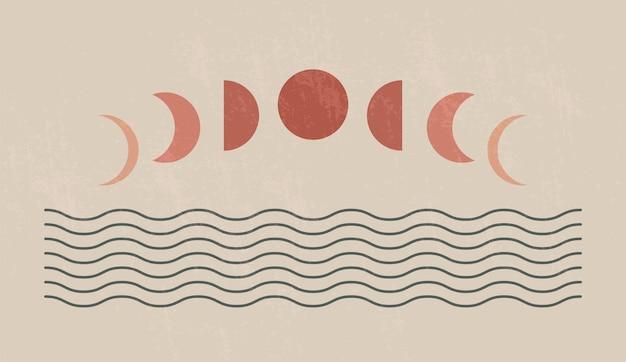 Impressão de arte minimalista moderna de meados do século com forma orgânica natural. fundo estético contemporâneo abstrato com fases geométricas da lua e do mar. decoração de parede boho.
