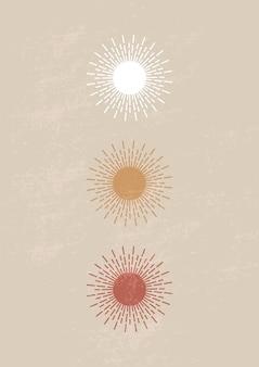Impressão de arte minimalista moderna de meados do século com sol estético contemporâneo. decoração de parede boho.