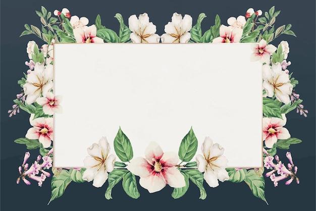 Impressão de arte vetorial vintage com moldura floral japonesa, remix de obras de arte de megata morikaga