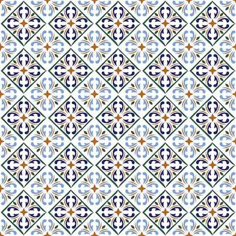 Impressão de azulejos azuis marroquinos ou textura de padrão de superfície de cerâmica espanhola.