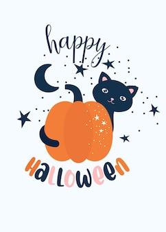 Impressão de bebê halloween com gato preto e abóbora cartão de feliz dia das bruxas