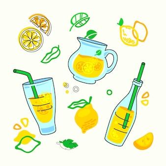 Impressão de bebida de limonada caseira com diferentes elementos de design no estilo doodle, ilustração plana dos desenhos animados