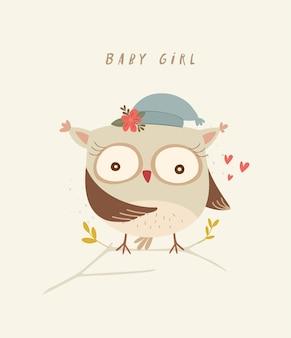Impressão de berçário de bebê com ilustração de coruja fofa