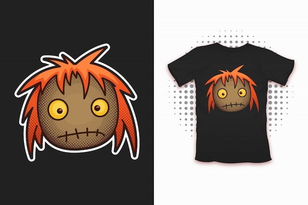 Impressão de boneca de pano para design de t-shirt