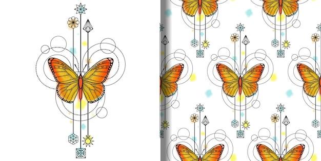 Impressão de borboleta em aquarela de vetor e padrão sem emenda