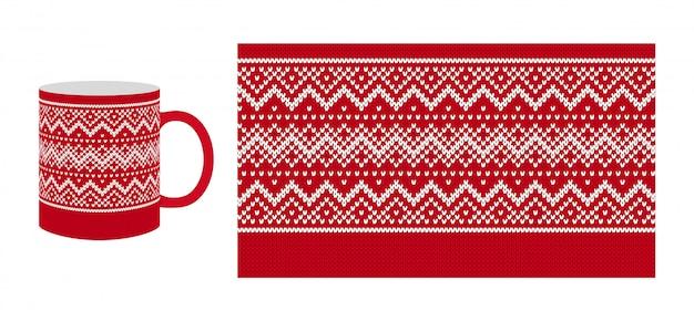 Impressão de borda vermelha de natal. padrão sem emenda de malha. . textura de camisola de malha para copos, pratos, design de louças. fundo de inverno do natal. quadro de ilha de feira de férias. ilustração festiva.
