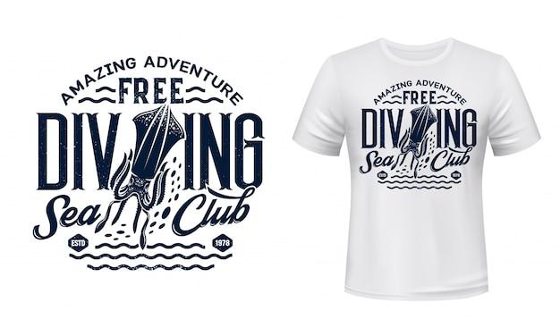 Impressão de camiseta com choco, clube de mergulho