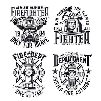 Impressão de camiseta com equipamento de vetor de bombeiros