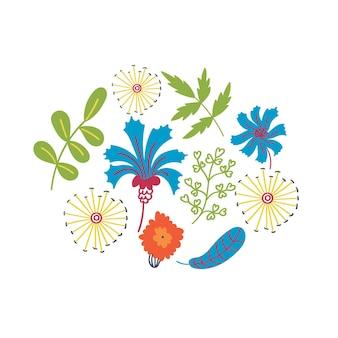 Impressão de camiseta com flores e folhas de dente de leão