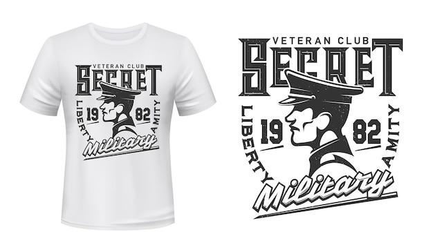 Impressão de camiseta com perfil de soldado no boné, mascote do design de vestuário do clube militar veterano secreto.