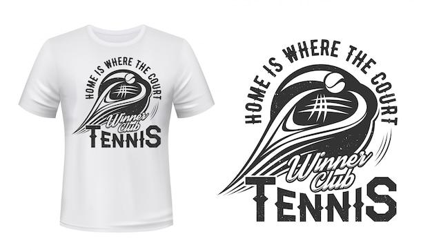 Impressão de camiseta com raquete de tênis e bola