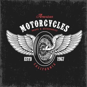 Impressão de camiseta com roda e asas em fundo escuro e textura grunge