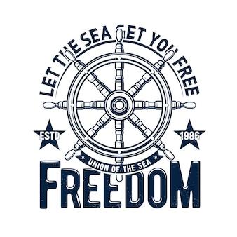 Impressão de camiseta com volante de navio, emblema do cruzeiro marítimo da regata com leme azul grunge