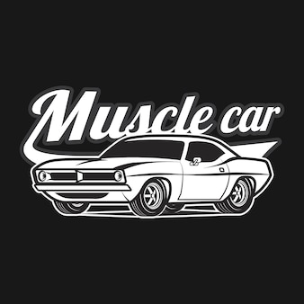 Impressão de camiseta de vetor clássico de desenho animado de carro muscular