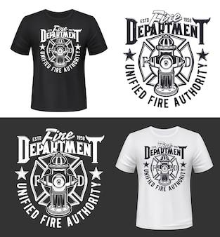 Impressão de camiseta do departamento de bombeiros e bombeiros