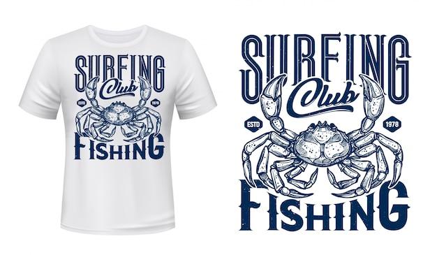 Impressão de camiseta náutica, caranguejo de clube de surf do oceano