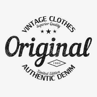 Impressão de camiseta original design de roupas vintage com tipografia de roupas jeans autênticas do grunge