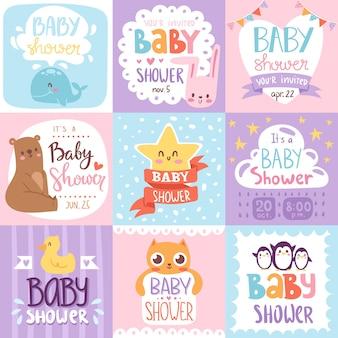 Impressão de cartão conjunto de convite para chá de bebê