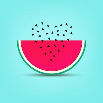 Impressão de cartão de banner de vetor de melancia de verão cartões adesivos com coração de semente