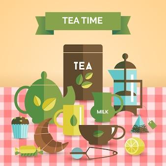 Impressão de cartaz decorativo vintage de hora do chá