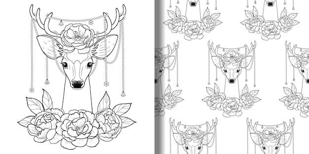 Impressão de cervos e peônias e conjunto de padrão sem emenda para colorir páginas de camisetas e estampas de têxteis