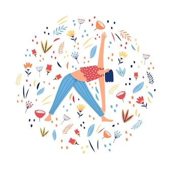Impressão de círculo com mulher fazendo exercícios de ioga e flores. ilustração.