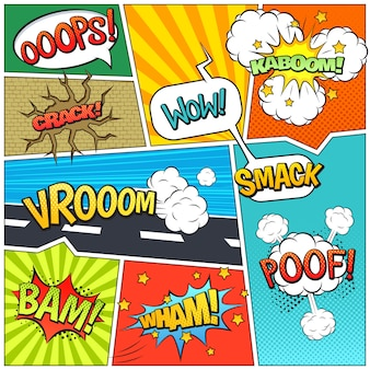 Impressão de composição de bolhas de página de livro de quadrinhos