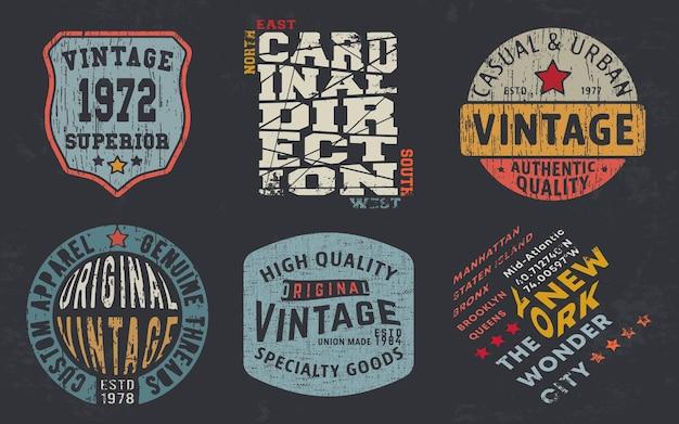 Impressão de design vintage para carimbo de t-shirt, t-shirt apliques, tipografia de moda, crachá, etiqueta de roupas, jeans e roupa casual. ilustração vetorial. Vetor Premium