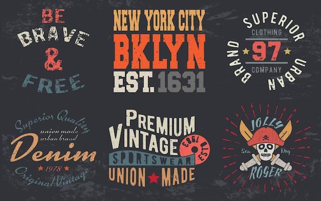 Impressão de design vintage para carimbo de t-shirt, t-shirt apliques, tipografia de moda, crachá, etiqueta de roupas, jeans e roupa casual. ilustração vetorial.