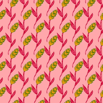 Impressão de elementos de espiga amarela e verde pequena. fundo rosa. ornamento de agricultura natural. projeto gráfico para embalagem de texturas de papel e tecido. ilustração vetorial.
