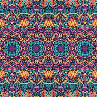 Impressão de flor de mandala sem costura colorida geométrica abstrata.
