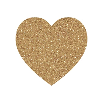 Impressão de forma de coração com padrão de glitter dourados. bom para uso e design. bom para cartão de felicitações.
