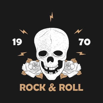 Impressão de grunge de música rock para roupas com esqueleto de caveira e rosa tipografia rocknroll vintage