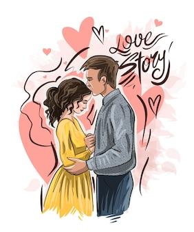 Impressão de história de amor com um casal apaixonado