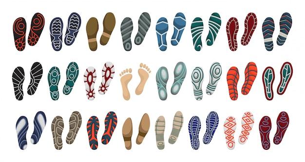 Impressão de ícone de conjunto de desenhos animados de vetor de sapato. pé de pegada de conjunto isolado ícone.