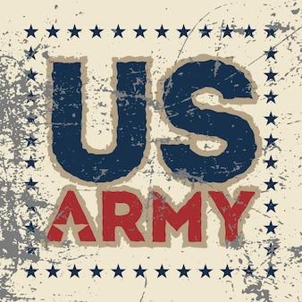 Impressão de ilustração vetorial de ações em camisetas fontes do exército dos eua