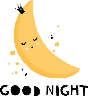 Impressão de ilustração vetorial de lua fofa de boa noite