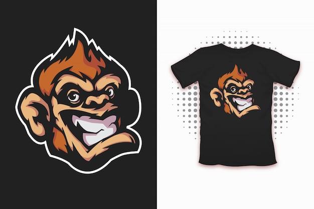 Impressão de macaco para design de t-shirt