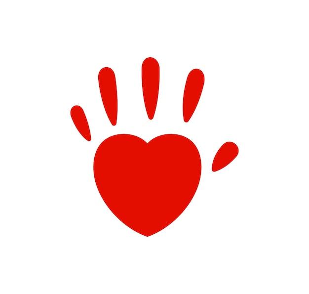 Impressão de mão logotipo de vetor de palmito coração família amor ícone vermelho