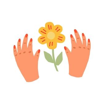 Impressão de mãos femininas e flores em estilo escandinavo. desenhado à mão é uma ilustração vetorial minimalista simples de uma mão e uma planta. design para cartão postal, pôster, impressão de camiseta
