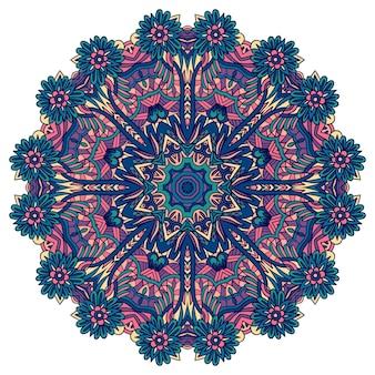 Impressão de medalhão de mandala colorida étnica indiana festiva