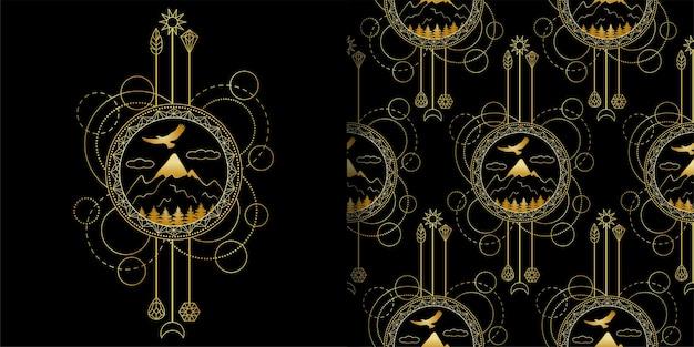 Impressão de montanhas de ouro e conjunto de padrões sem emenda