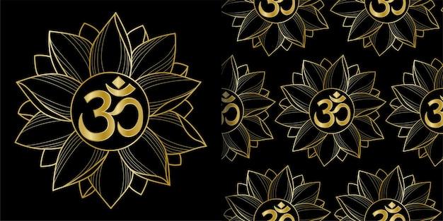 Impressão de ouro om e lotus e conjunto de padrões sem emenda
