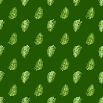 Impressão de padrão botânico sem costura com pequenas silhuetas de folhas verdes de samambaia. fundo verde. impressão da natureza.